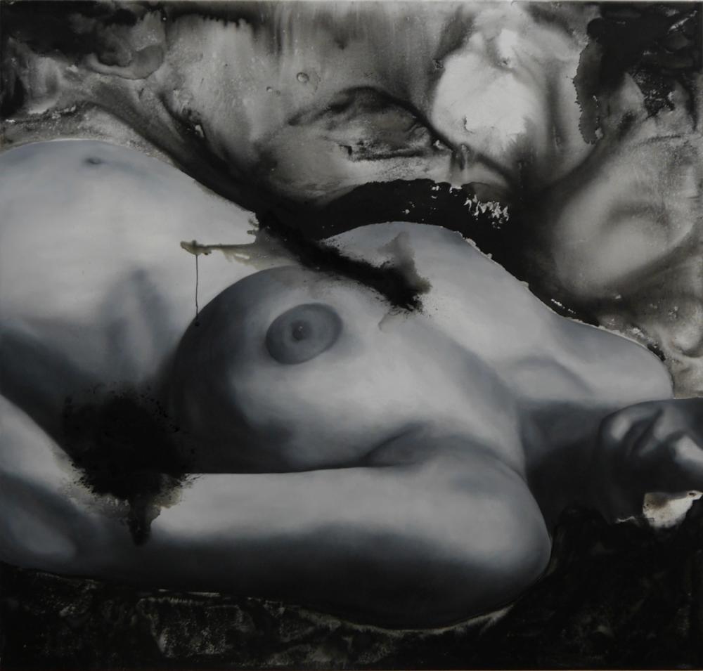 ohne Titel # Körper 7, Öl- und Wasserfarbe auf Leinwand, 160cm x 150cm, 2020