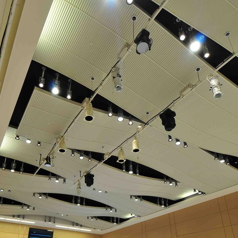 某会議室(天井材:リプル)波形の表面による高い吸音性と美しい形状が天井面を演出しています