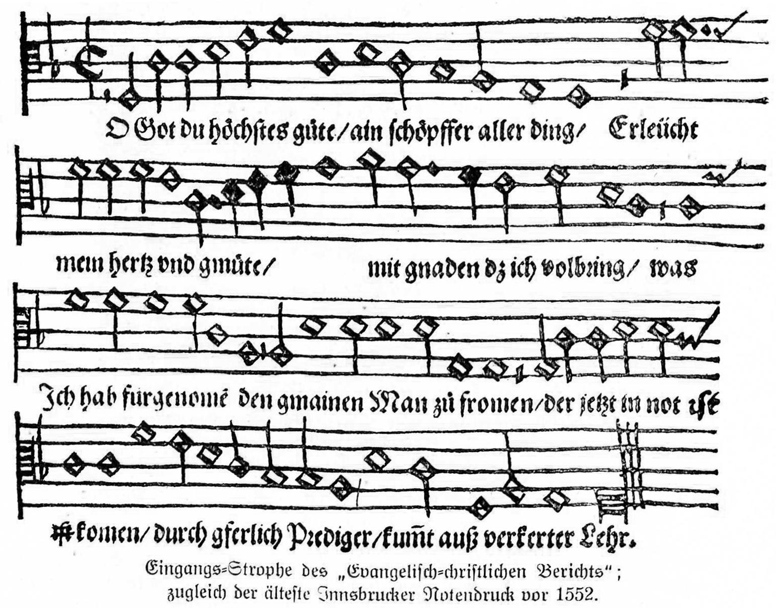 Ältester Notendruck Innsbrucks vor 1552