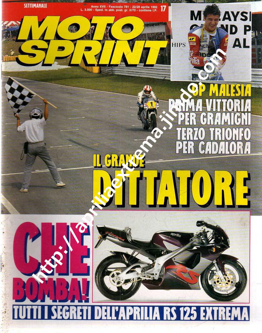 Motosprint 22-28 aprile 1992