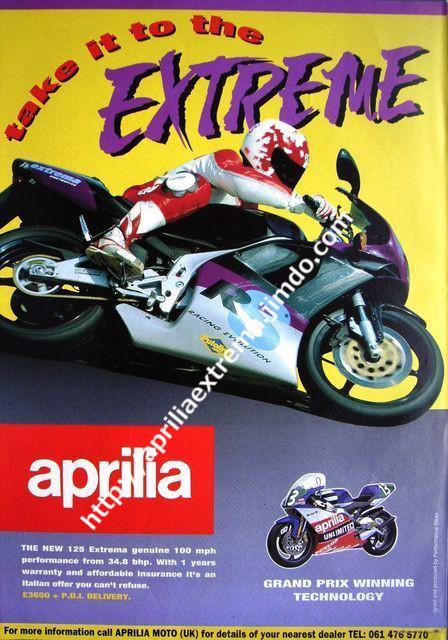 Pubblicità dell'importatore inglese 1993 (non al livello di quella italiana)