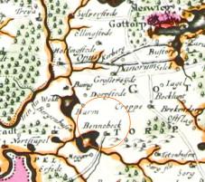 Karte Herzogtum Schleswig-Holstein-Gottorf aus dem Jahr 1650.
