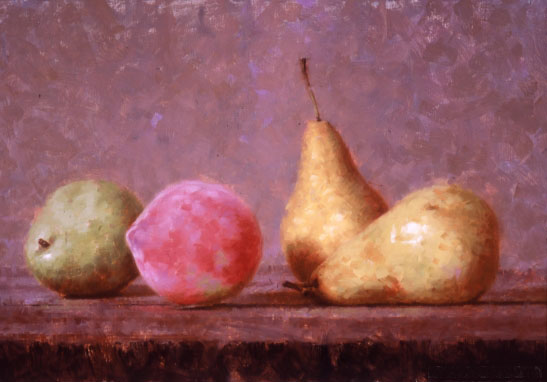 Pears and peach- oil painting by Peter Schaumann
