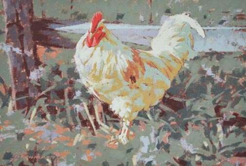 "White Rooster - 9x12"" oil painting by Peter Schaumann"