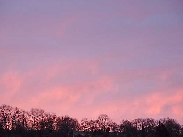 rosaroter morgenhimmel, ein neuer tag beginnt mit zuversicht