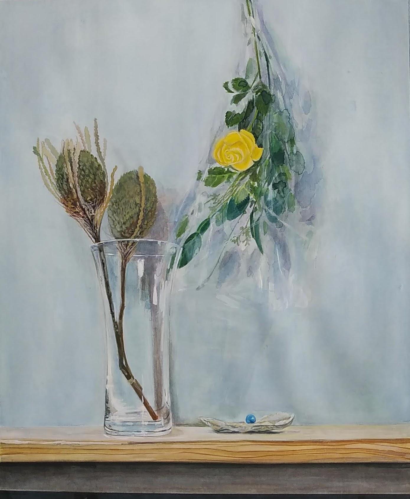 水彩「黄色い薔薇のあり静物」