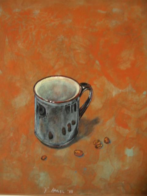 アクリル・紙「黒いコーヒーカップ」赤木義光