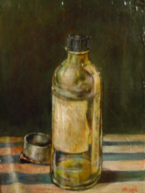 油彩油と壺(油彩、キャンバス)