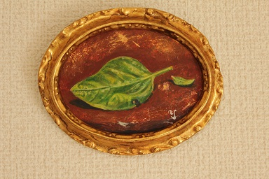 テンペラ画「バジルの葉」赤木義光