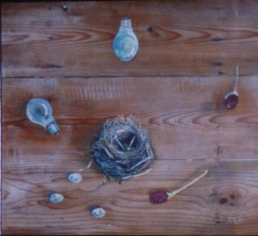 アクリル・板(個人蔵)「鳥の巣のある風景」