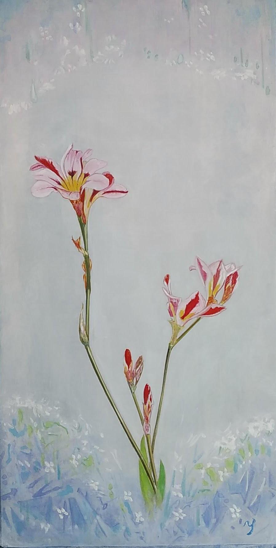 水彩「アリストロメリア」赤木義光