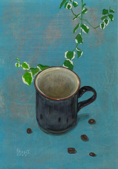 青い背景の中のコーヒーカップ(アクリル、紙)