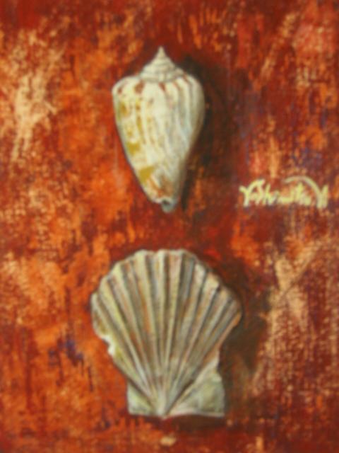 二つの貝殻(テンペラ、紙)