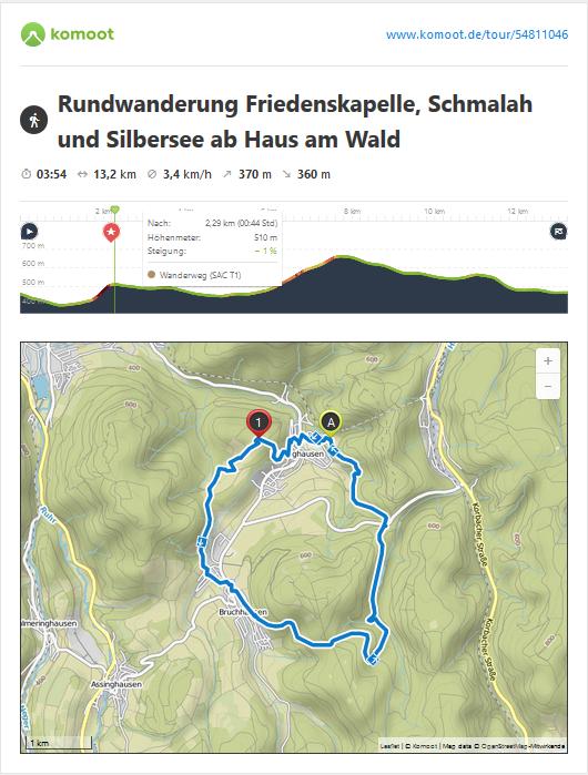 Freitag: am letzten Wandertag führt Sie der Weg zur Friedenskapelle am Ruthenberg (bitte die Glocke läuten), durch das Golddorf Bruchhausen mit Einkehrmöglichkeiten, vorbei am Istenberg ins Naturschutzgebiet Schmalah mit dem wunderschönen Silbersee