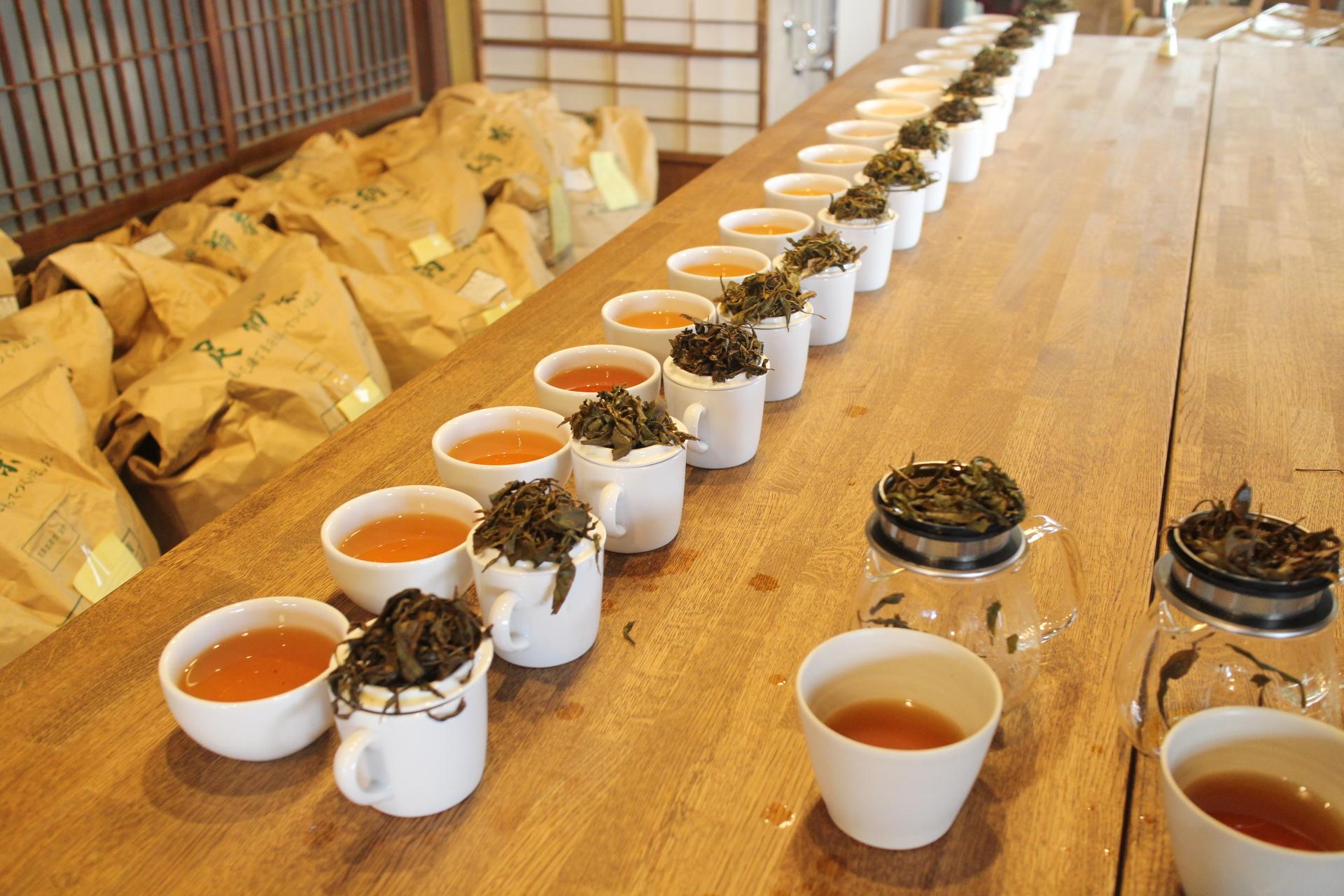 紅茶の出来上がりをテイスティングで確認