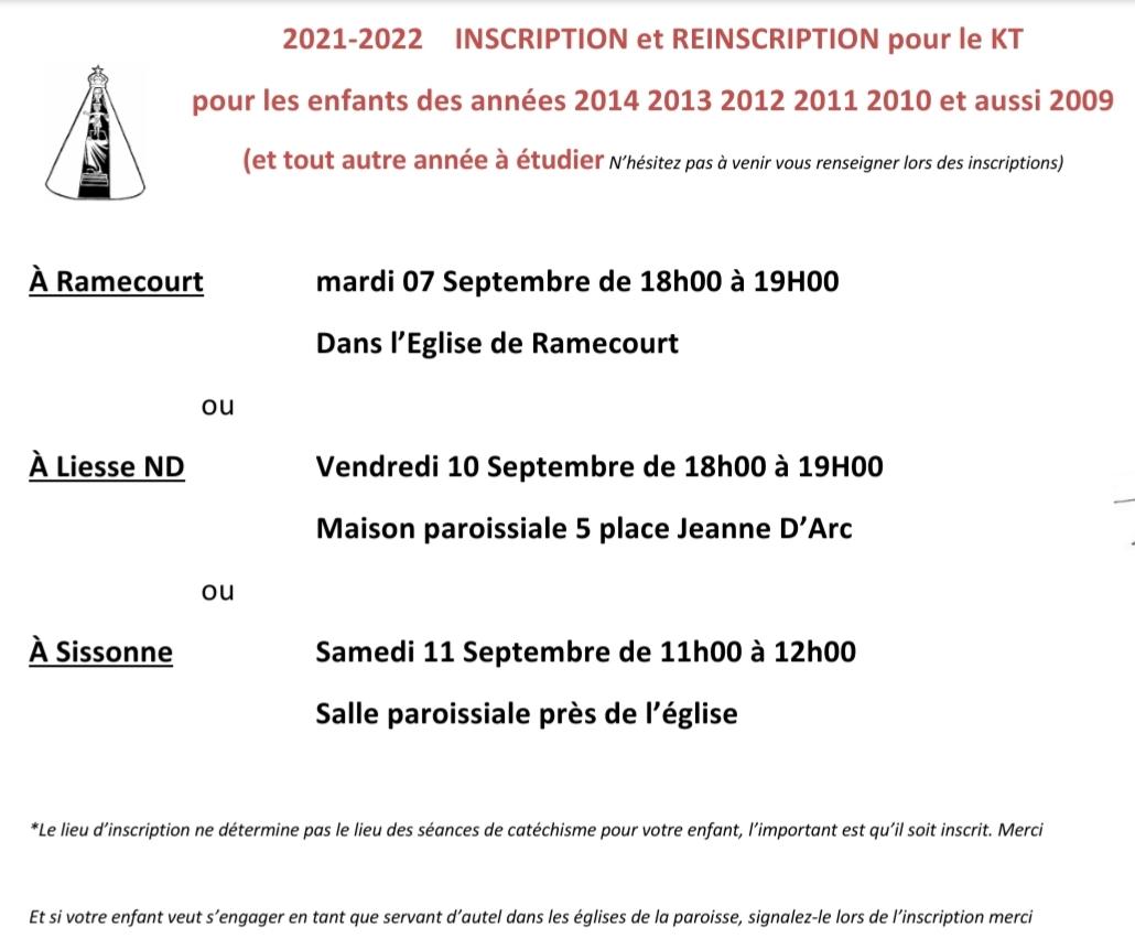 Dates pour les inscriptions à la catéchèse - début septembre