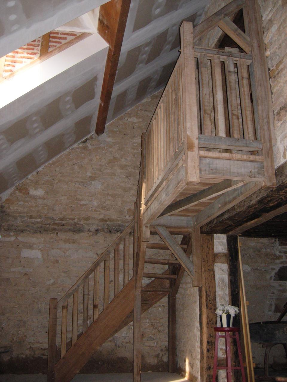Escalier chêne bois brossé vieilli