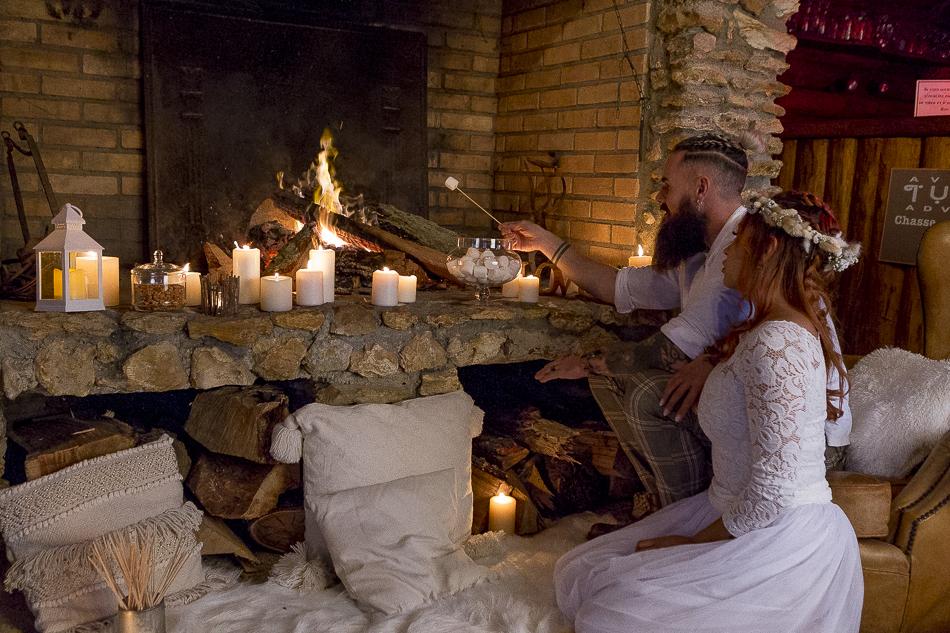 Marshmallow party au feu de cheminée réalisée par Sabrina Lannoy (Wedding Planner & Wedding Designer)