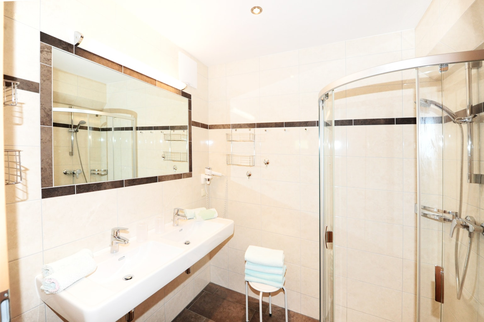 Bathroom with shower & double-sink