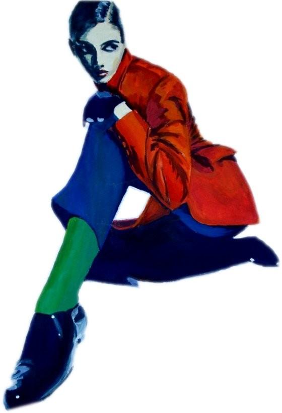 mode,malerei,schuhe,rote,jacke,blaue,hose,grüne,strümpfe