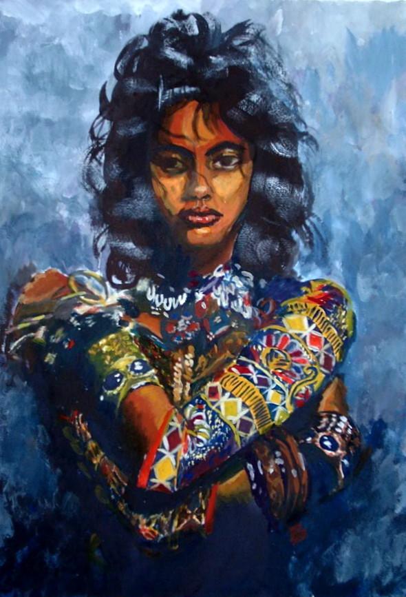 Indianerin,frau,schmuck.portrait,malerei