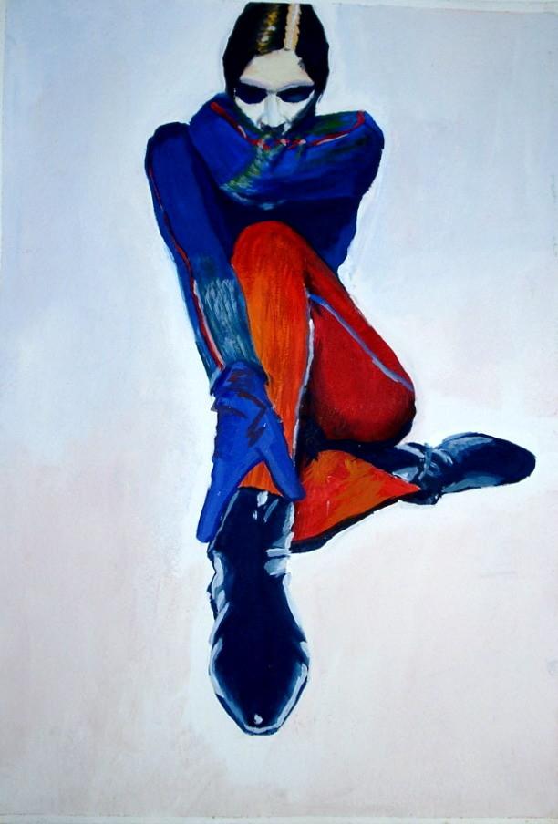 mode,malerei,handschuhe,schuhe,blau,shirt,rote,hose