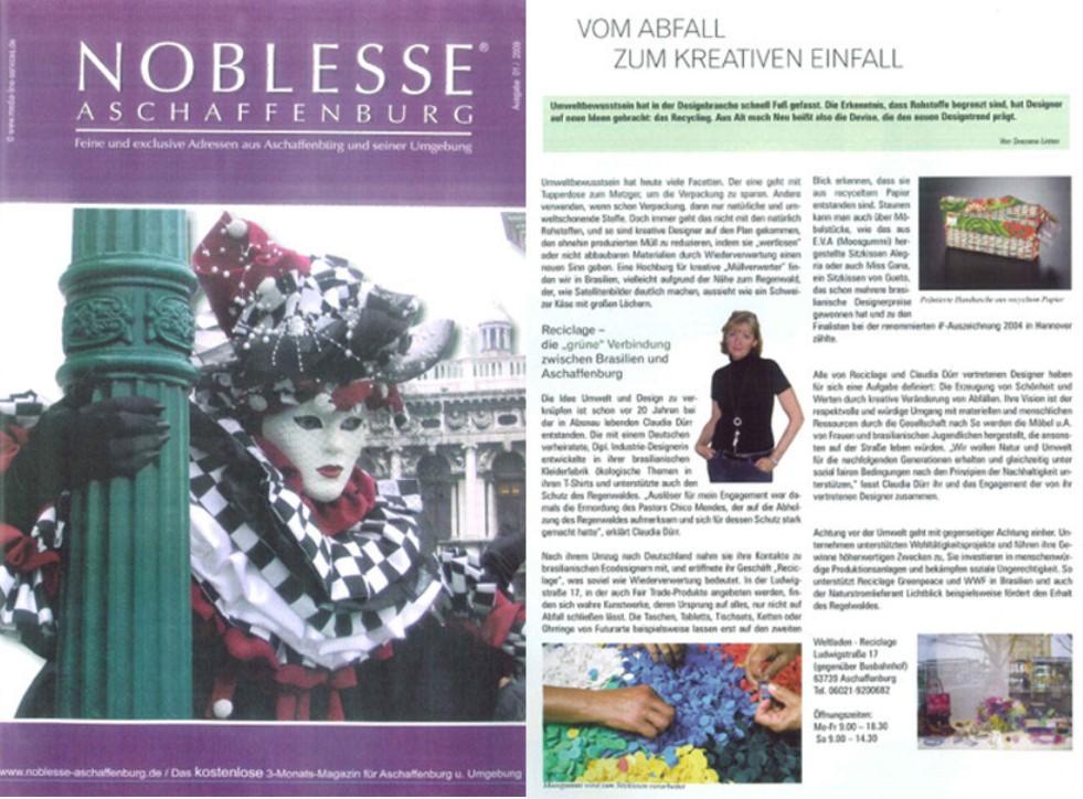 Noblesse Aschaffenburg, Reciclage, umweltfreundliche Werbeartikel, recycling, upcycling