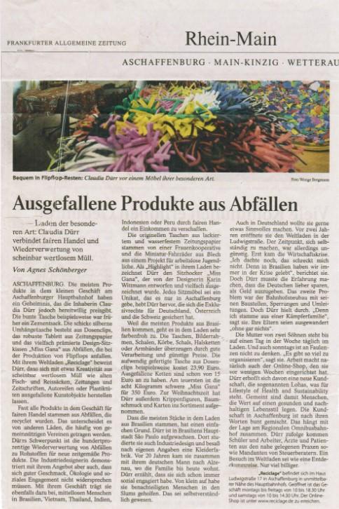 FAZ, Reciclage, ökologisch sinnvolle Werbeartikel