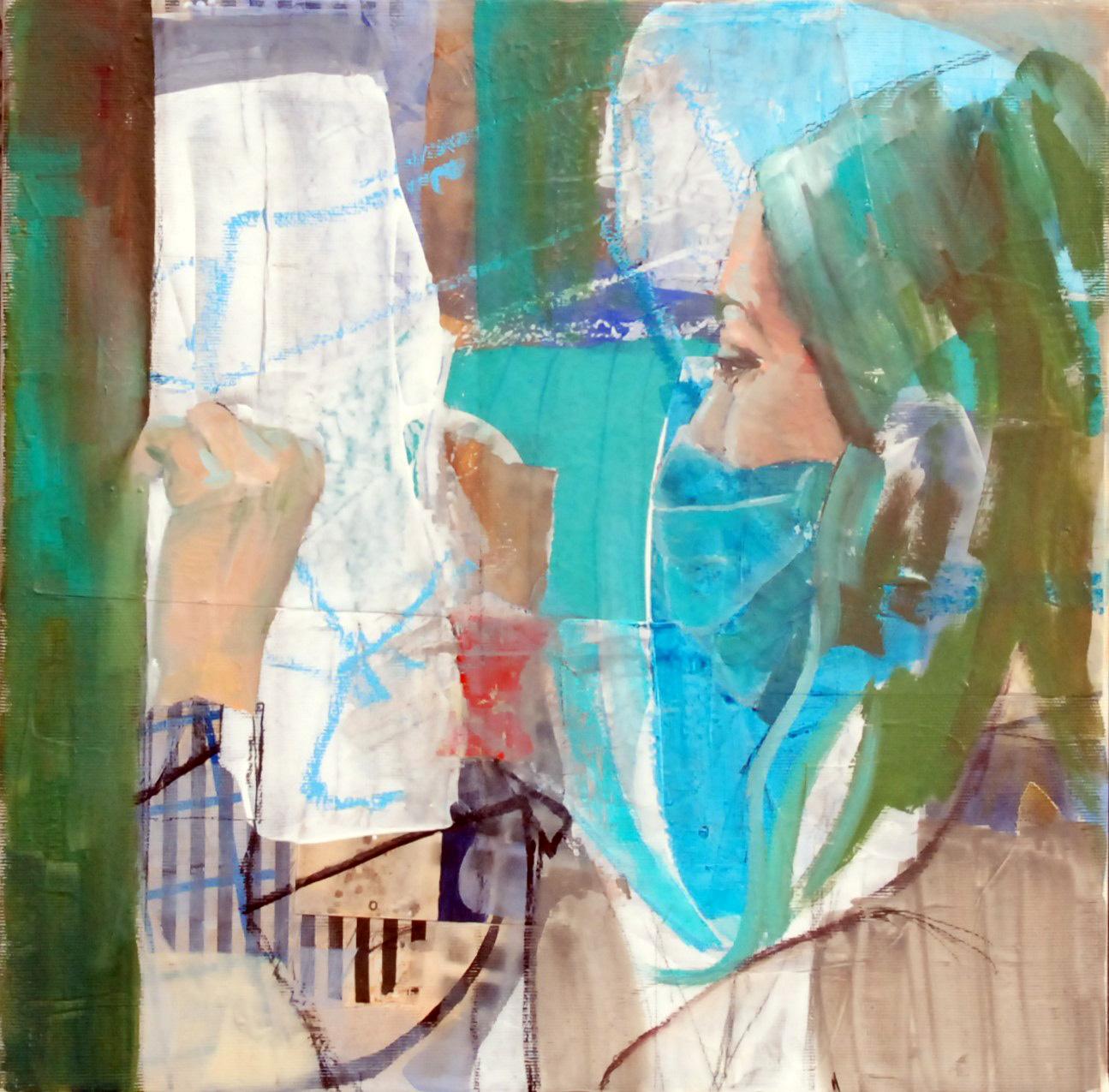 ...und immer schön lüften, Öl, Acryl und Collage auf Leinwand, 40cm x 40cm