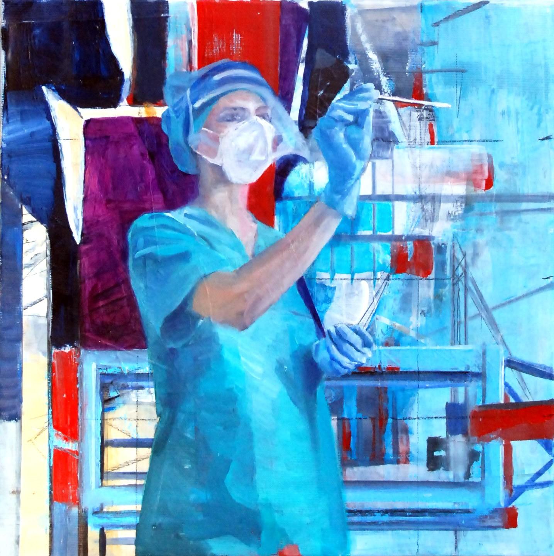 Mund auf ( bitte), Öl, Acryl und Collage auf Leinwand, 40cm x 40cm