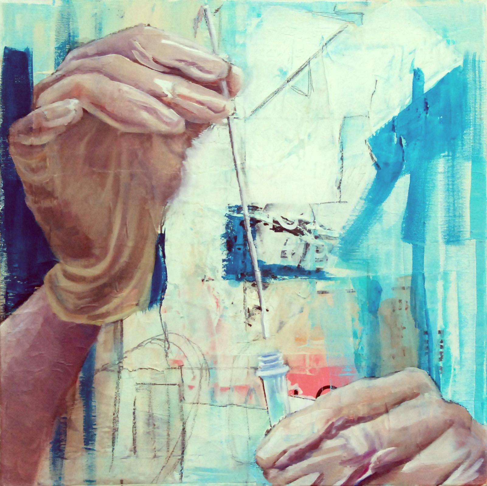 O.T., Öl, Acryl und Collage auf Leinwand, 40cm x 40cm