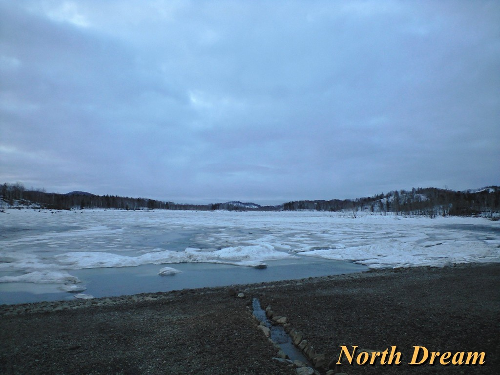 前浜から見た朱鞠内湖の結氷状況