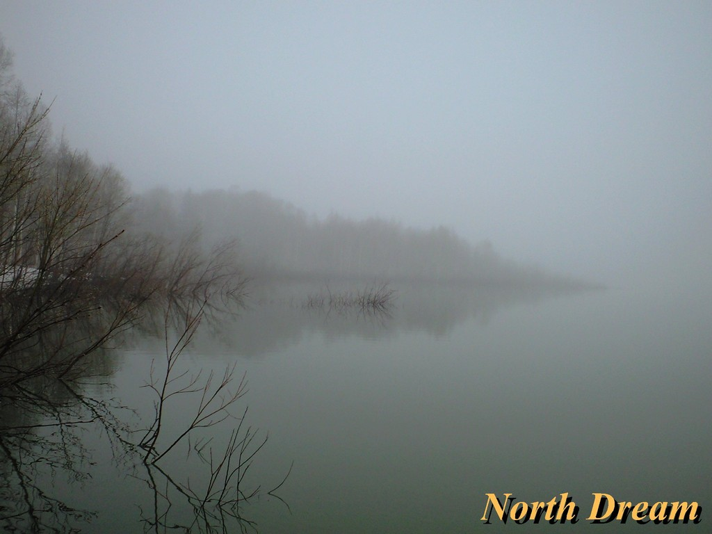 取水崎の増水状況と霧