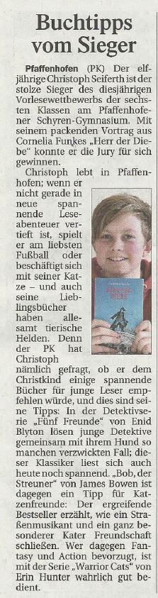 Glückwunsch an Christoph, Spieler bei unseren D-Junioren