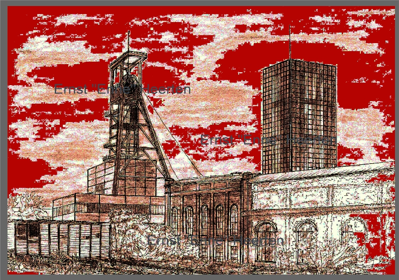 1.5. - Essen Zeche Zollverein - Förderturm mit rotem Himmel  / 200.- €