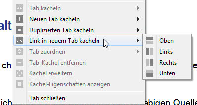 Möglichkeiten zur Anordnung der Tab-Kacheln