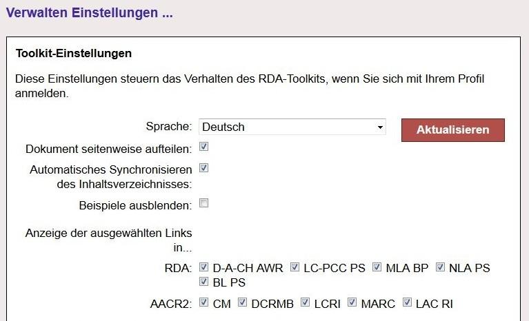 Screenshot aus dem RDA Toolkit, der die Profileinstellungen zeigt
