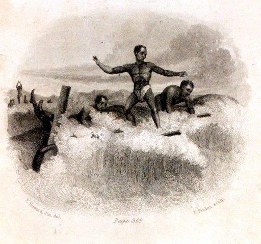 Eine der ersten Darstellungen des Surfens (1831), aus Matt Warshaw, The History of Surfing, Seite 28
