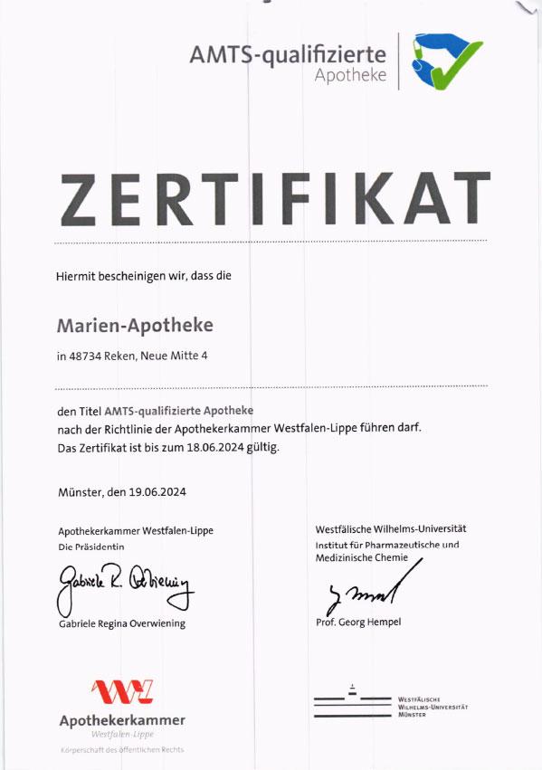 Erneute Zertifizierung als AMTS-qualifizierte Apotheke