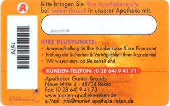 Kundenkarte Martin-Apotheke Reken | Rückseite