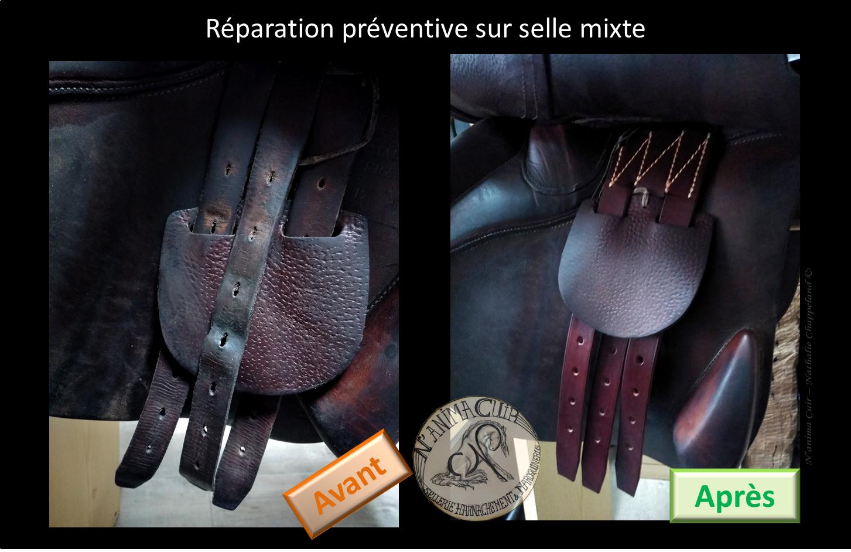 """réparation préventive N'anima Cuir - contre sanglons changés sur selle """"Antarès"""""""