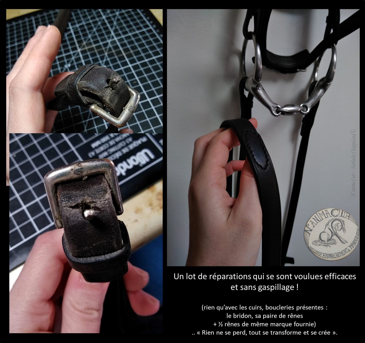 réparation / entretien N'anima Cuir © Une, ..puis plusieurs réparations (importantes et d'autres préventives), réalisées uniquement avec la matière présente (+ 1/2 rênes de même cuir et marque fournie)