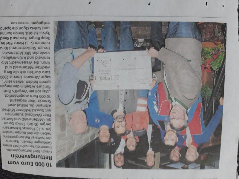Scheckübergabe an die Rettungsorganisationen bei der Jahreshauptversammlung am 05.08.2021, Bild Garmisch-Partenkirchner Tagblatt