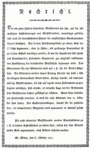Flugblatt vom Oktober 1817