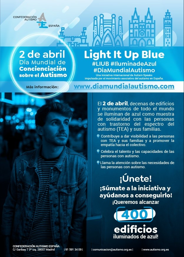 La Mancomunidad se suma a la campaña 'Light It Up Blue' por el Día Mundial del Autismo de la mano de ANA