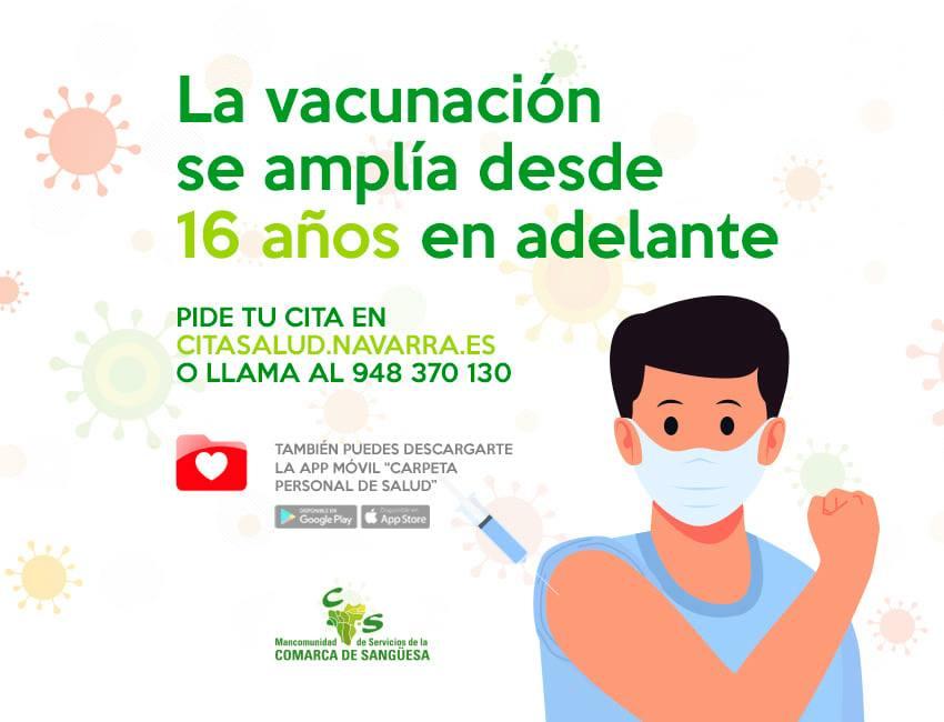 La vacunación se amplía desde 16 años en adelante