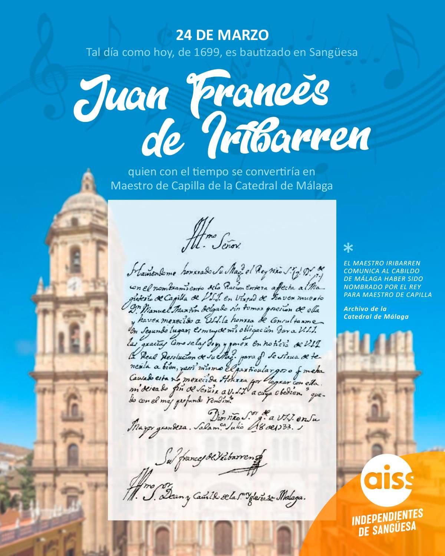 Tal día como hoy de 1699, era bautizado en Sangüesa Juan Francés de Iribarren, quien se convertiría en Maestro de Capilla de la Catedral de Málaga