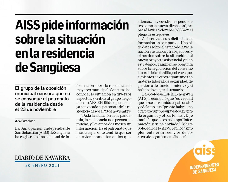 Diario de Navarra: AISS pide información sobre la situación en la residencia de Sangüesa