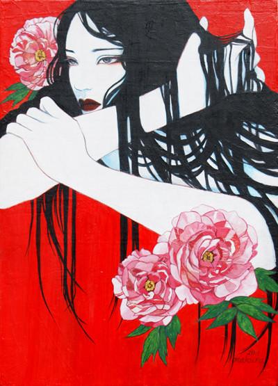 牡丹 sold/2011 Acrylics gouacheキャンバス