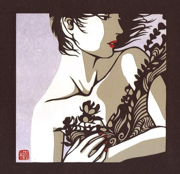 うたかた2014  140×140mm Rasha paper,KMK KENT,Japanese paper Paper cutting,Water color(顔彩)